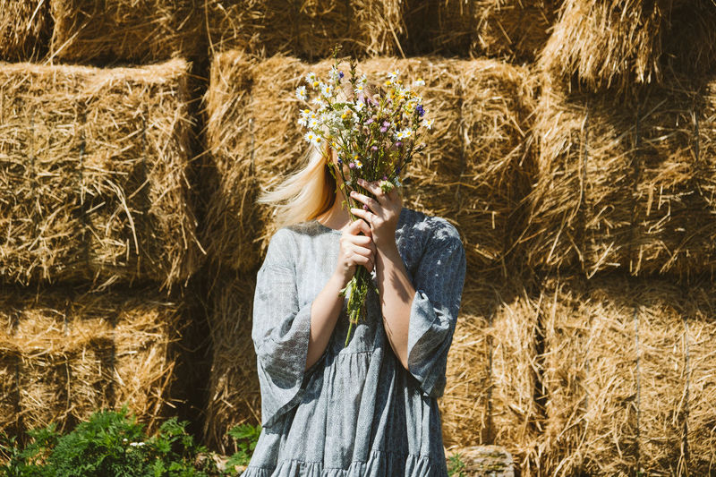 Woman standing in farm