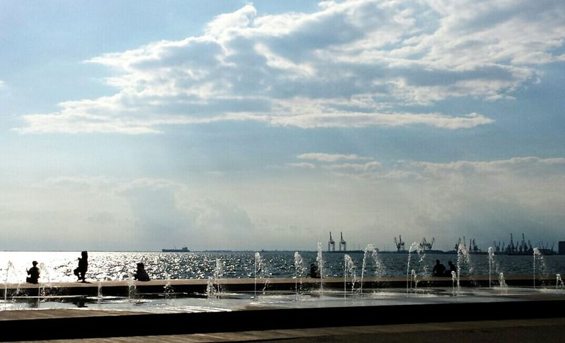 Fountains Enjoying Life Walk This Way Cityphotography Cityspaces Sea View Thessaloniki Port  Water