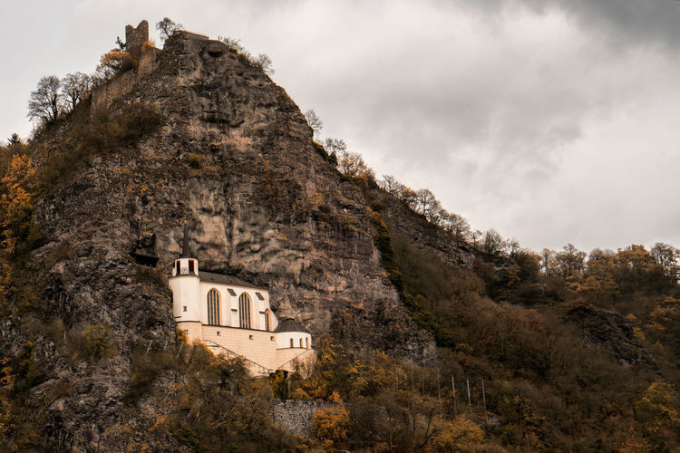 Idar-Oberstein - Crag Church. Crag Church Church Idar-Oberstein Idar-Oberstein - Crag Church Oberstein Architecture Building Building Exterior Built Structure Cloud - Sky Day History Idar Land Low Angle View Mountain Nature No People Outdoors Plant Rock Scenics - Nature Sky The Past Tree