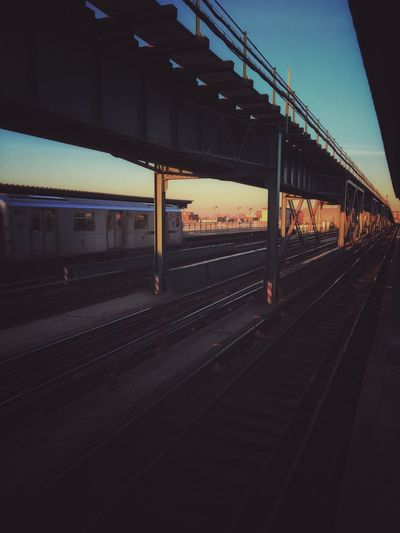 Subway Transportation Rail Transportation Architecture Built Structure Track Railroad Track Railroad Station Platform Public Transportation Train Railroad Station Sky Nature Outdoors Mode Of Transportation Illuminated No People Train - Vehicle Reflection Travel Sunset