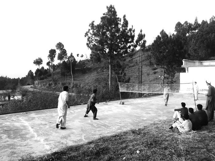 Evening Pursuits Badminton Racquet Sport Recreation  Competition Black&white Rural Scene Grass Hills Sport Togetherness Love The Game