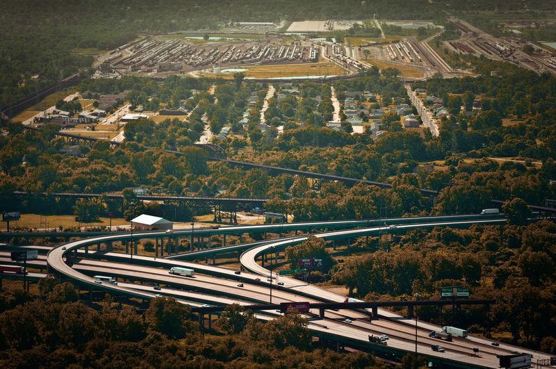 Frachtknoten (2011) Aerial View Dust Freight High Angle View Highway Highways&Freeways No People Stlouismissouri Traffic Trainyard Transportation Trucks USA DSLR APS-C