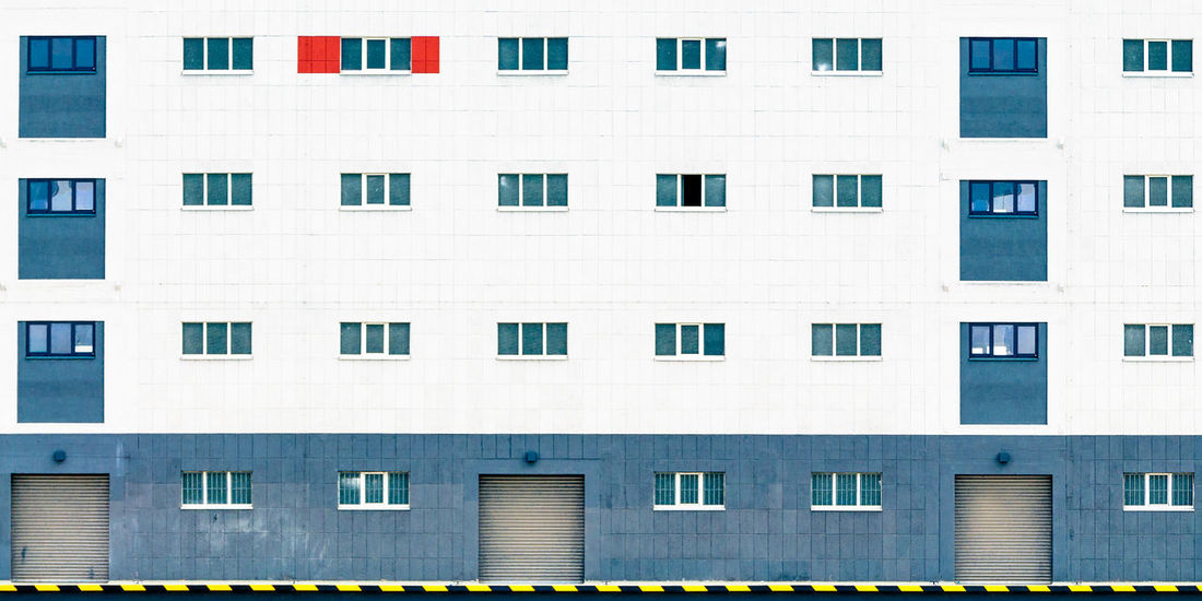 Lines: The red framed + 1 open Architecture Building Exterior Built Structure Cyan Day Facades No People Outdoors Red Windows Nikonphotography Repetition Industrial Landscapes Industryporn Urban Landscape Windowporn