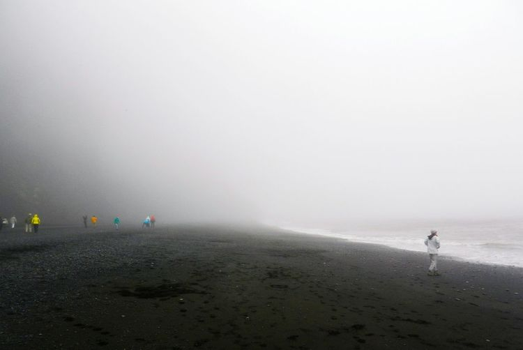 Black Sand Beach Black Sand Beach Iceland Reynisfjara Iceland Iceland Trip Iceland_collection Beach Sea Water Sand Incidental People Outdoors Fog Nature Wave Horizon Over Water Beauty In Nature Scenics Tranquility Vacations Day People Sky Power In Nature