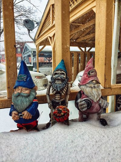 Greetings from 'gnome'-mans land✨❄️☃️🧙🏻♂️☃️❄️✨😄 Snow Covered Winter Gnomes Taking Photos Tadaa Community Built Structure Architecture Day No People Outdoors