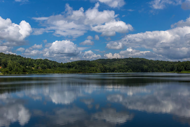 Reflection of clouds in calm lake