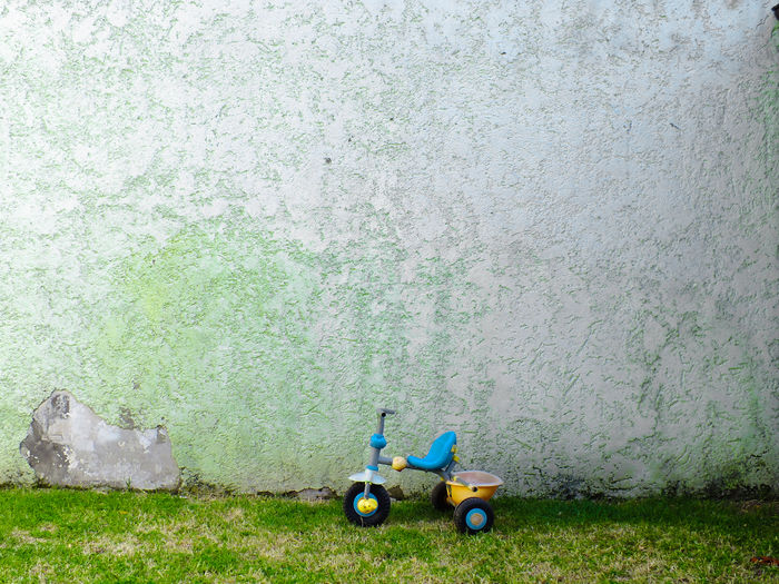 Tricycle On Field Against Wall
