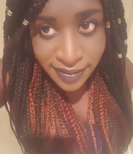 Back to braids! Box Braids Red Purple And Black Hair That's Me Purple Lipstick