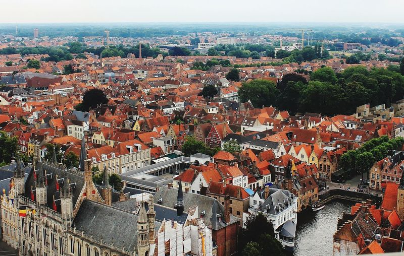 High angle shot of bruges town, from the bell tower of the city.