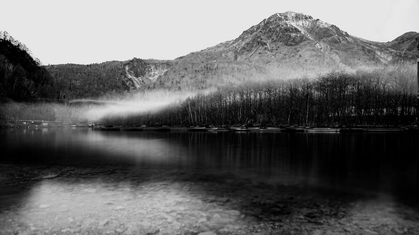 Nature Water Beauty In Nature Scenics Tranquility Tranquil Scene Lake Idyllic Outdoors No People Non-urban Scene Tree Clear Sky Day Landscape Mountain Sky Reservoir Waterfall Blackandwhite Snowcapped Mountain Taishoike Lakeside National Park Riverside Alps The Great Outdoors - 2017 EyeEm Awards
