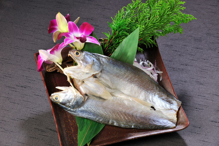 Close-up of fish in plate served on table