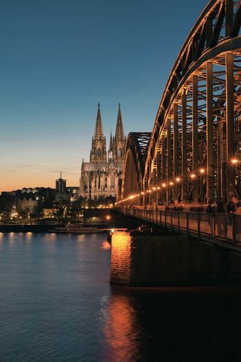 Built Structure Architecture Water Sky Building Exterior Illuminated River Connection Waterfront City Bridge Bridge - Man Made Structure Travel Destinations Transportation No People Night Nature Building Outdoors Cityscape Citylights Cologne