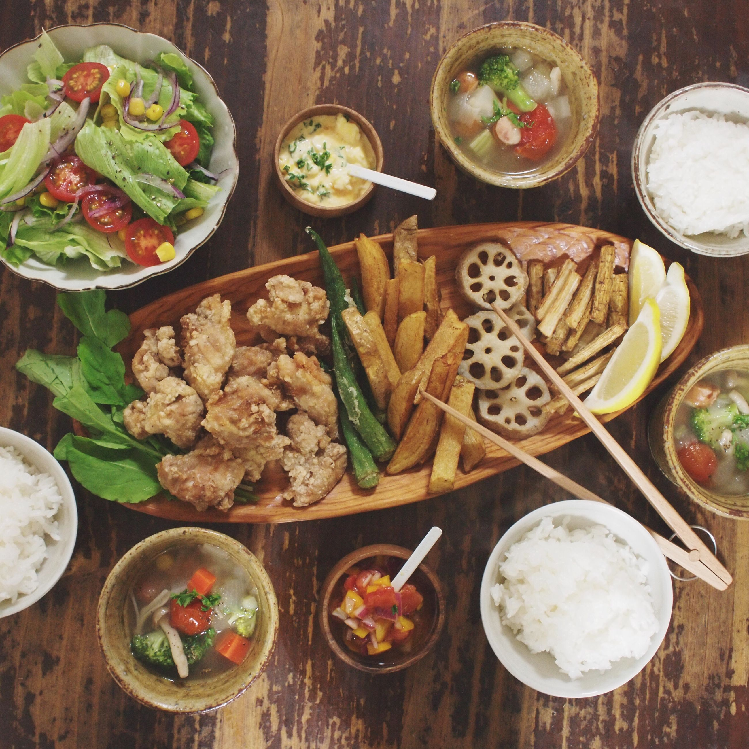 food and drink, food, freshness, indoors, ready-to-eat, healthy eating, table, plate, still life, meal, high angle view, variation, bowl, serving size, vegetable, directly above, meat, salad, served, seafood