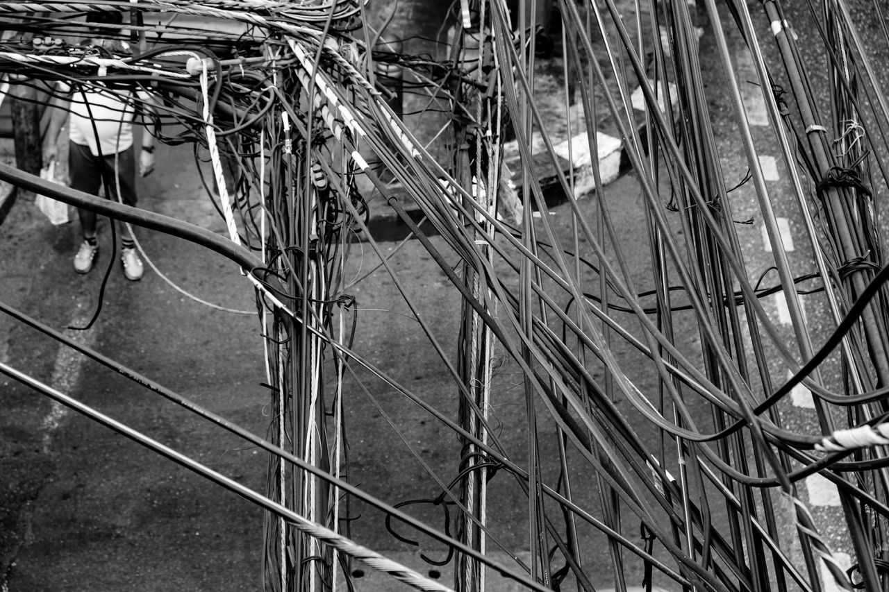 High Angle View Of Cables Against Street