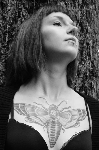 Portrait Of A Friend Nikon D5200 Alternative B&W Portrait Black&white Monochrome Girls With Tattoos Nikon Alternativemodel Gothicportrait