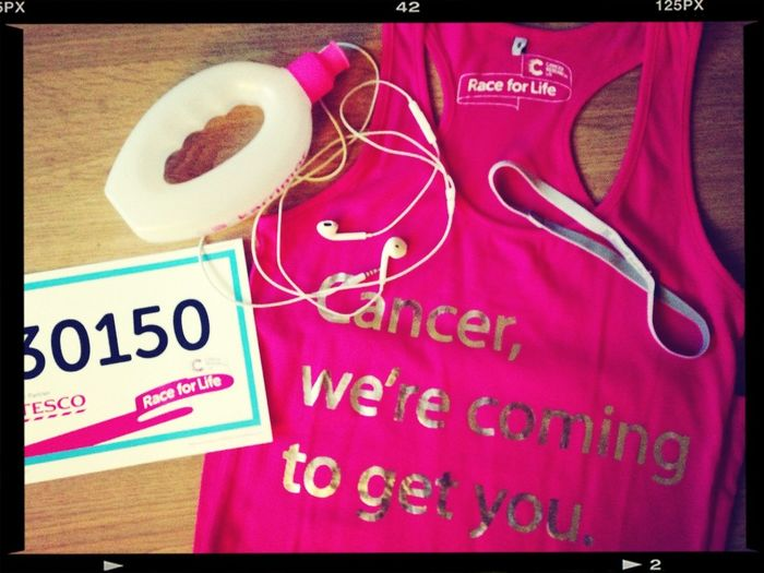 I'm all set for Race For Life this Sunday in Southampton Race For Life