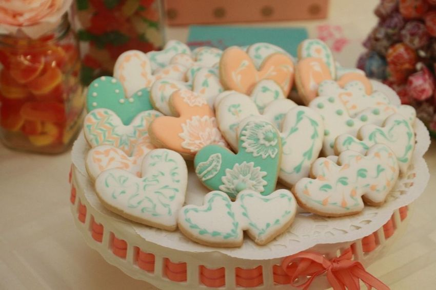 Sweet Food SugarCookies Pastel Colors Beautiful Cookies Decorative Heart Shape
