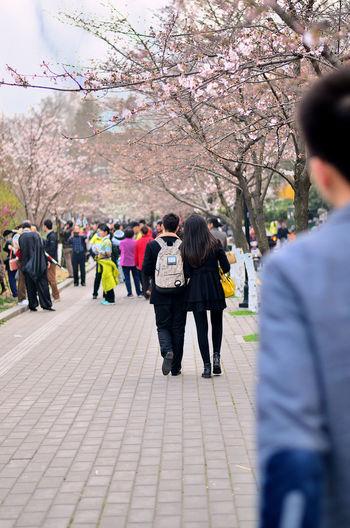 People walking on flower