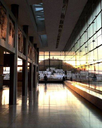 Views at the Acropolis Museum Architecture Built Structure Indoors  Day Sky Sunset Acropolis