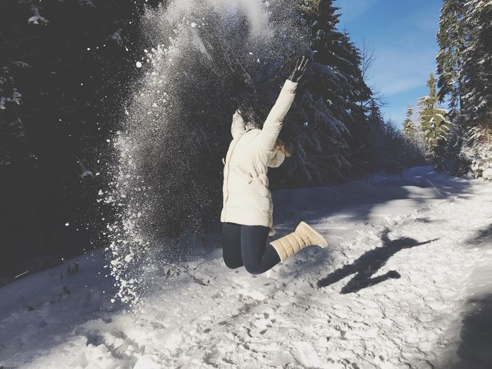 Full Length Real People One Person Leisure Activity Tree Lifestyles Standing Outdoors Splashing Men Rear View Motion Nature Day Beauty In Nature Sand Fresh On Eyeem  EyeEmNewHere Shades Of Winter