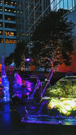 Winter solstice Winter Icesculpture Manhattan 2017 NYC Multi Colored No People Technicolor Brilliance  Evening Dusk In The City Christmas Lights Built Structure Grace Building
