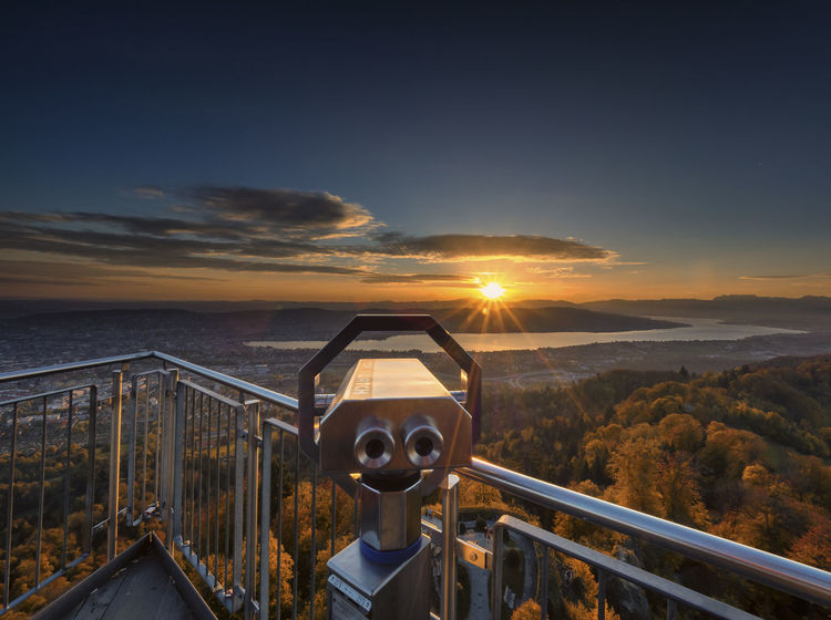 The Sight Autumn Autumn Colors Fernglas Herbst Herbststimmung Schweiz Uetlibergturm Zürich Zürichsee Beauty In Nature Coin-operated Binoculars Herbstfarben Lake View Nature No People Outdoors Railing Scenics See Sky Sun Sunrise View From Above