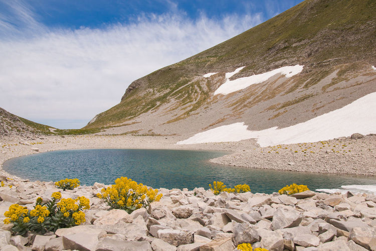 Summer view of the famous lago di pilato in the national park of monti sibillini