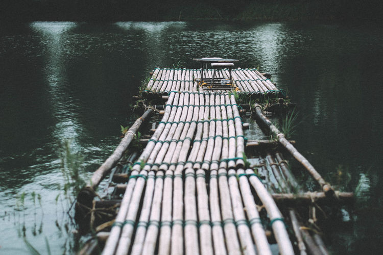Bamboo Bridge . Coffee Time Cafe Day High Angle View Lake Nature No People Outdoors Pier Tranquility Water