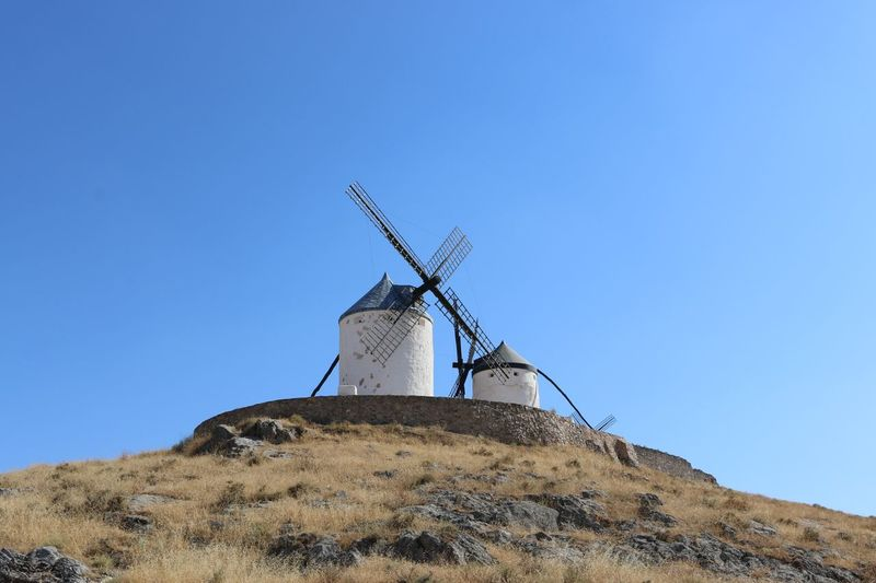 Molinos de don Quijote Sky Clear Sky Low Angle View Wind Turbine Turbine Alternative Energy Wind Power Copy Space Fuel And Power Generation Blue Renewable Energy Traditional Windmill Environment Environmental Conservation Architecture Nature No People Day Blade Built Structure