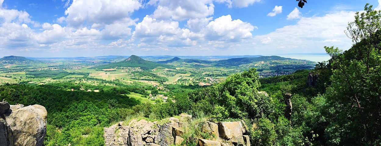 Landscape Nature Hille Volcanic  Green Hill Sky Clue Cloud View Above Hungry Balaton View From Badacsony Birds Eye View Stone Rock Cliff Edge Summer Bright