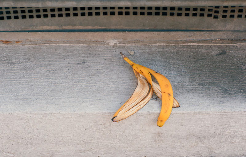 Peel of banana in the street