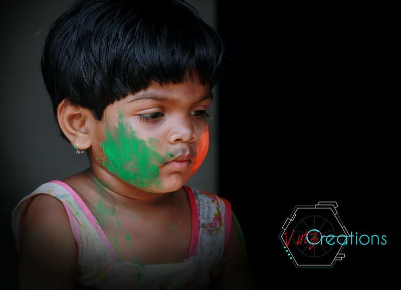 Looking At Camera Paint Dark Black Hair Serious Indoors  Offspring Front View Human Face Emotion Childhood Human Body Part Multi Colored