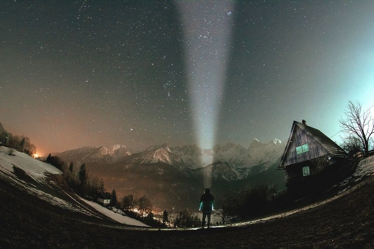 The stars above the Julian Alps. Fisheye Wide Glow Julian Alps Alps Light Cabin Nature Mountain Stars Abowe Above Glow Snow Man Fugure Shadow Sky Long Exposure Space Silhouette Outdoors Galaxy Panoramic