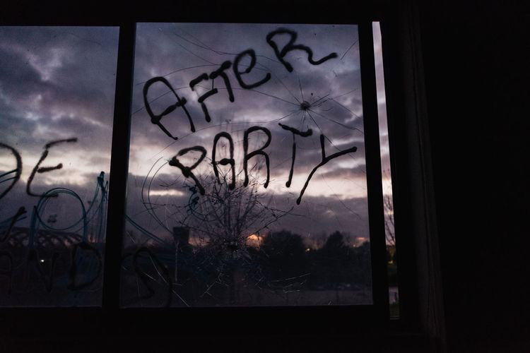 Sky Window No People Glass - Material Transparent Text Silhouette Dark Cloud - Sky Glass Sunset After Party Ruined Abandoned