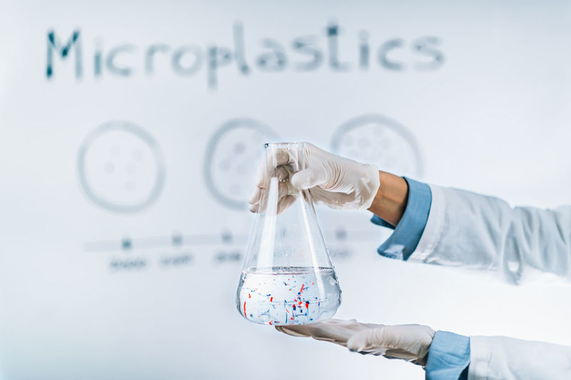 Microplastic pollution concept