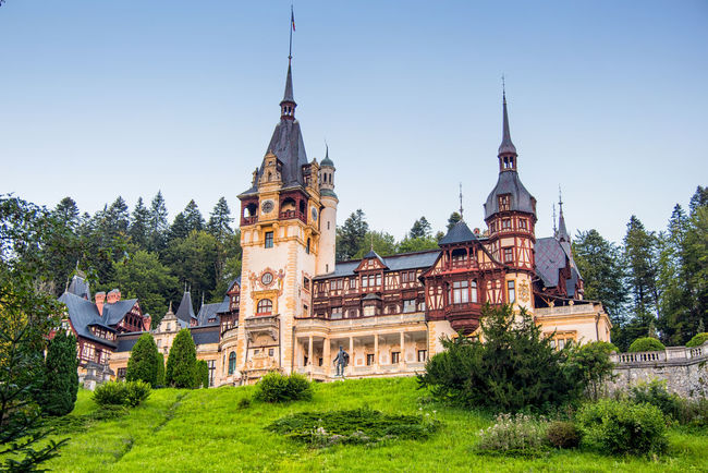 Sinaia_Romania Architecture Belief Building Building Exterior Built Structure Clear Sky Day History Nature No People Outdoors Peles Castle Place Of Worship Plant Religion Sky Spire  Spirituality The Past Travel Destinations Tree