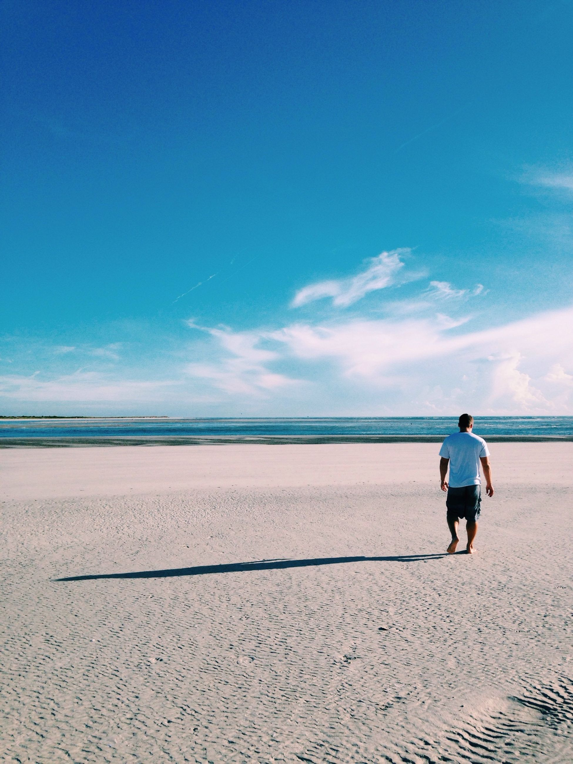 beach, sand, sky, sea, full length, blue, horizon over water, water, shore, tranquility, leisure activity, rear view, tranquil scene, lifestyles, cloud, scenics, beauty in nature, men