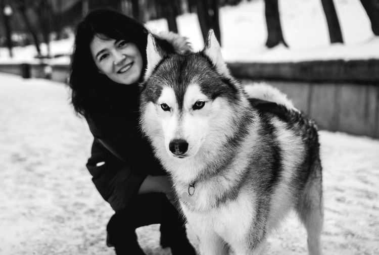 Winter Animal Themes Cold Temperature Pets Snow Dog Looking At Camera Outdoors Portrait Close-up Nature Dogwalk Dog Portrait Dogs Blackandwhite Huskyphotography Husky Nature Day Looking At Camera Real People