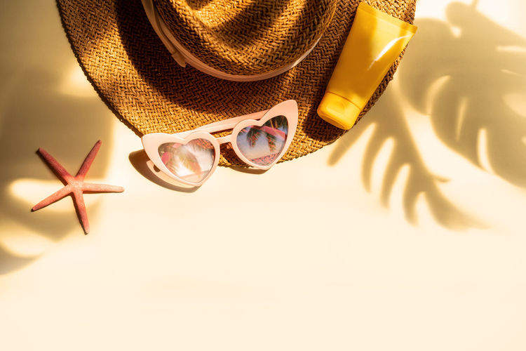High angle view of sunglasses on hat