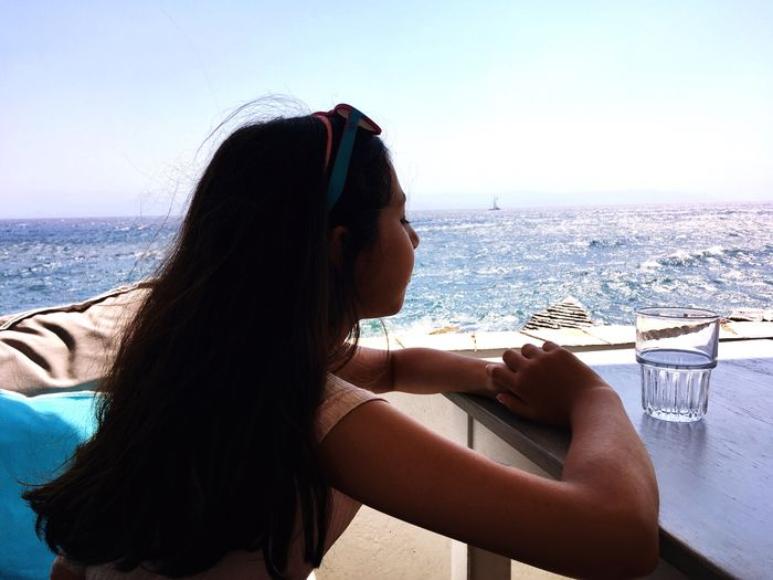 A silhouette of a girl relaxing with the amazing view of the sea. Greece Paros Island Aegean Sea Seascape Blue The Week On EyeEm The Week On EyeEm
