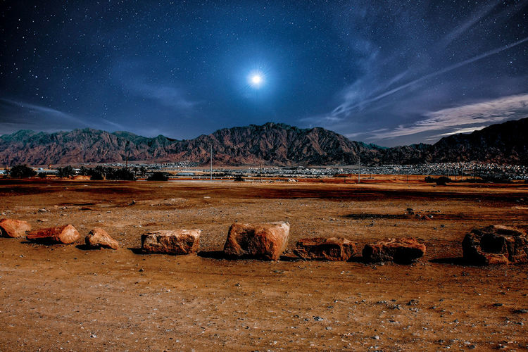 Eilat, view to Jordan Sky Scenics - Nature Beauty In Nature Mountain Nature Night Tranquil Scene Tranquility Moon Cloud - Sky Environment Space Land No People Water Landscape Astronomy Star - Space Non-urban Scene Outdoors Moonlight Space And Astronomy Jordan Israel Border