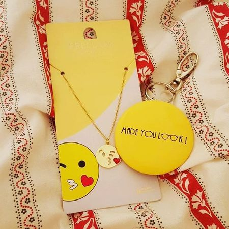 Super cute purchases from Topshop Emojinecklace 😚 😘necklace Necklace Freedom Madeyoulook Bagcharm Supercute