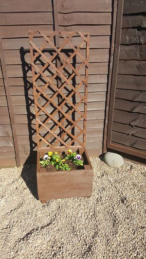 handmade Flower Brown Beauty Perfection Reclaimed Wood Wood Trellis Flower Bloom Made By Me my hobby Love What I Do Planter Yellow Purple Garden Pebbles Shadow Sunlight Architecture Built Structure Close-up