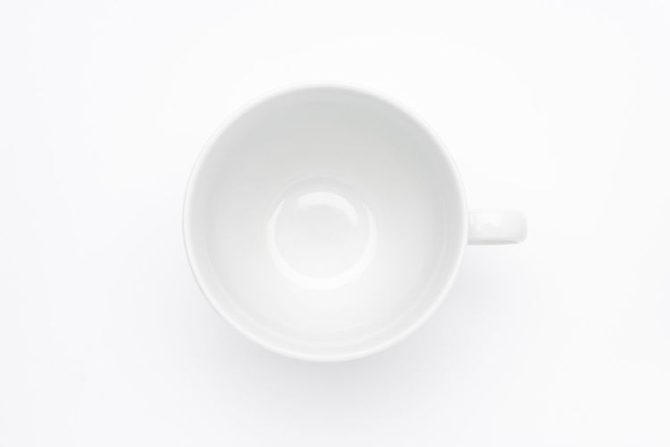 Empty white cup on white background Breakfast Caffeine Coffee Dishware Espresso Morning Tableware Tea Backgrounds Blank Cafe Ceramics Clean Copy Space Cup Cut Out Directly Above Empty Food And Drink Mug Porcelain  Single Object Tea Cup White Background White Color