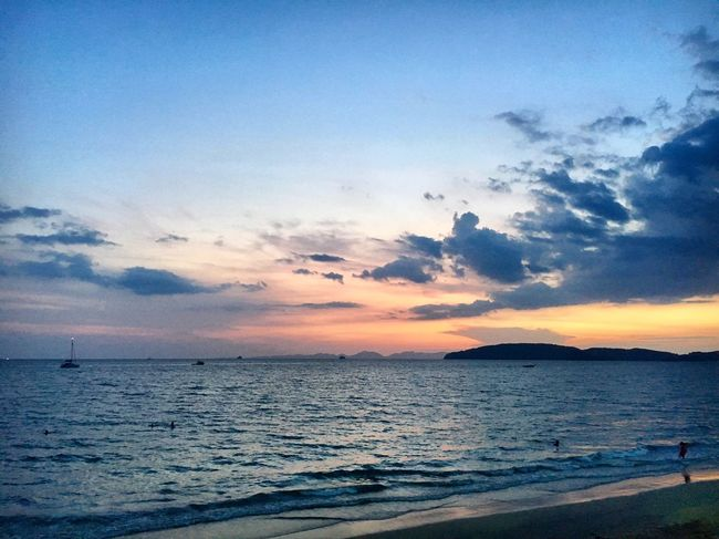Take 2 Sea Sunset Water Sky Horizon Over Water Scenics Beauty In Nature Tranquility Nature No People Sunset_collection Krabi Thailand Colors Travel Seascape Travel Photography (null)Ao Nang, Krabi. Thailand Idyllic Beauty In Nature Krabi Beach Outdoors