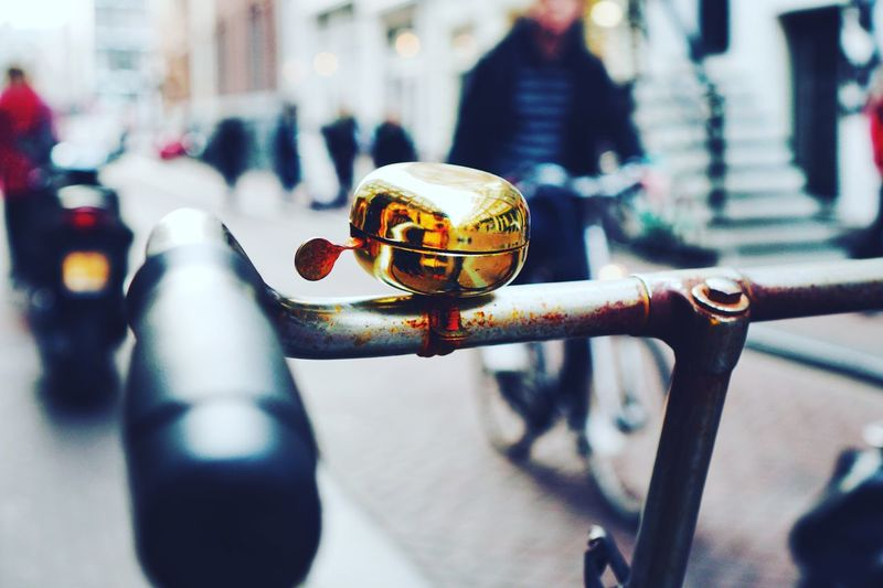 Close-up of bicycle bell