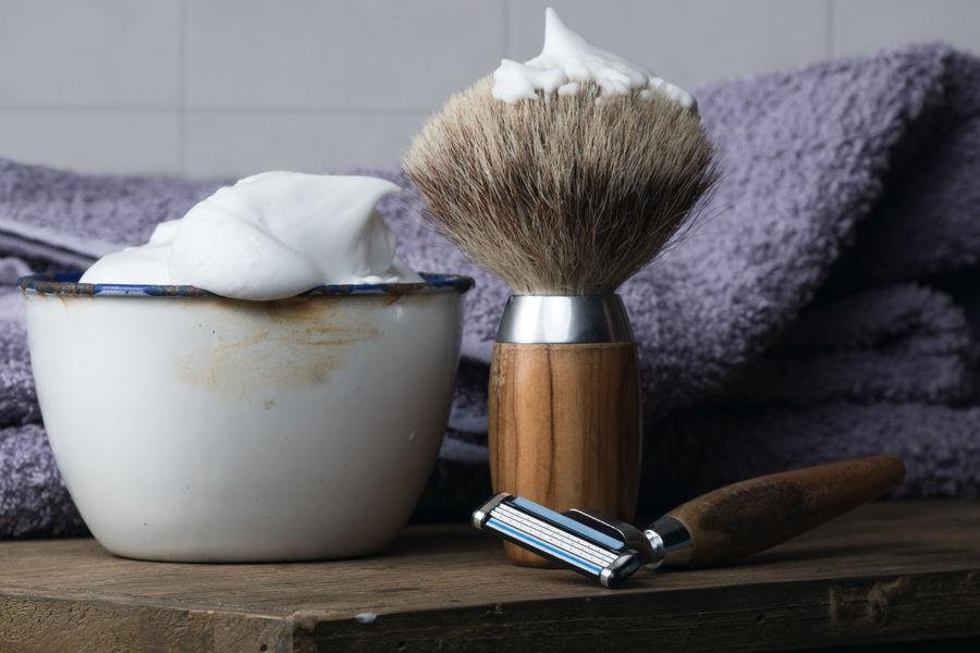 Barber Barbershop Beard Body Care Depilation Equipment Hygiene Indoors  Man Men Razor Retro Retro Style Shave Shaver Shaving Shaving Brush Table Vintage Wood Wood - Material