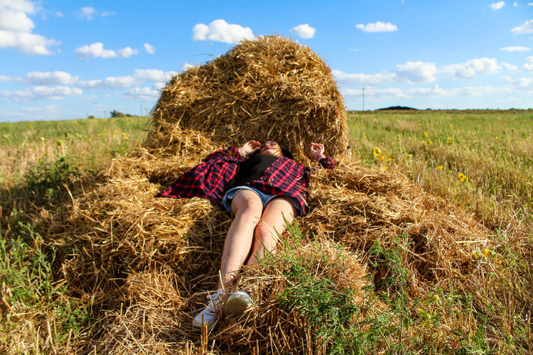 Beauty In Nature Field Girl Grass Happy Summer Hay Nature Relax Relaxing Sky Square Stack Summer Youth Women Around The World Sommergefühle EyeEmNewHere Inner Power Summer In The City
