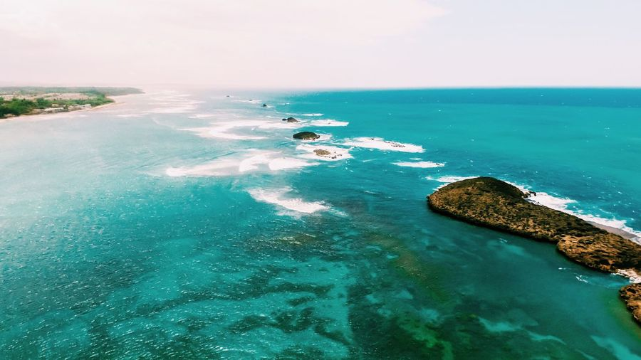 Aerial Shot Sea Water Beauty In Nature Nature Scenics Tranquil Scene Tranquility Rock - Object Horizon Over Water No People Day Outdoors Sky Nautical Vessel High Angle View Landscape Physical Geography Puerto Rico Drone Photography Travel Destinations Aerial View Lost In The Landscape