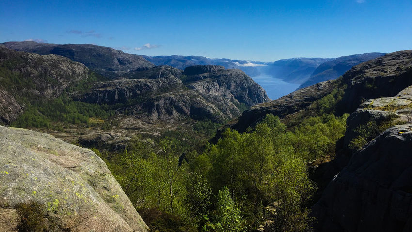 Hiking to the Preikestolen Beauty In Nature Clear Sky Day Landscape Mountain Mountain Range Nature No People Outdoors Scenics Sky Tranquil Scene Tranquility Tree The Great Outdoors - 2017 EyeEm Awards Lost In The Landscape